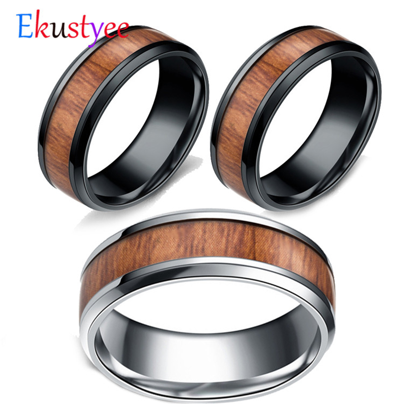 316L Stainless Steel Finger Rings Durable Vintage Titanium Stainless Steel 8mm Ring Wood Grain Ring Jewelry For Men