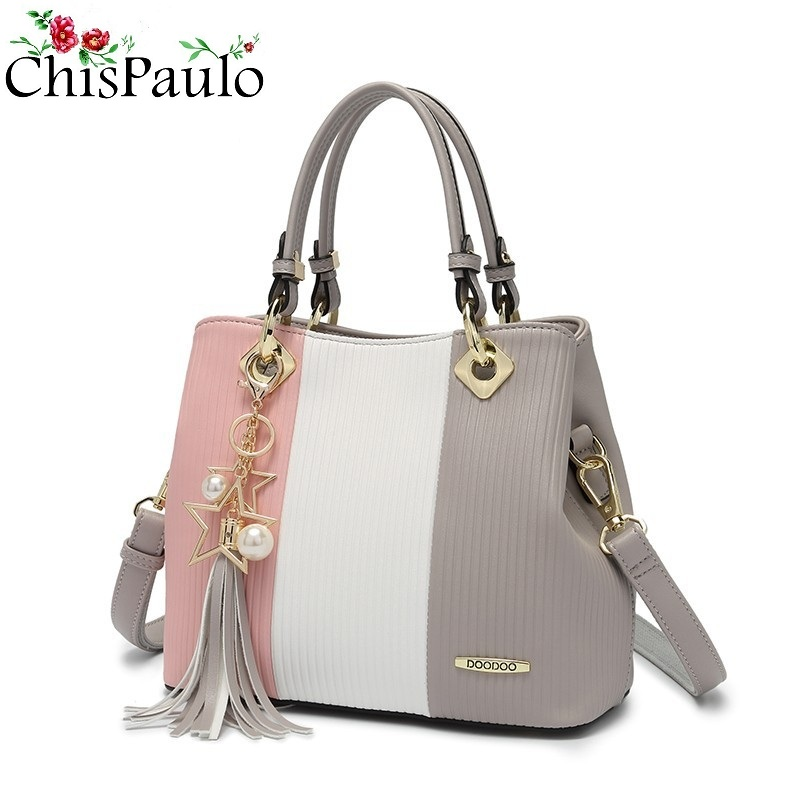 2018 Cowhide Genuine Leather Bags For Women Fashion Women's Shoulder Chain Bags Female Tassel Messenger Bags Bolsa Feminina N271 2017 new female genuine leather handbags first layer of cowhide fashion simple women shoulder messenger bags bucket bags