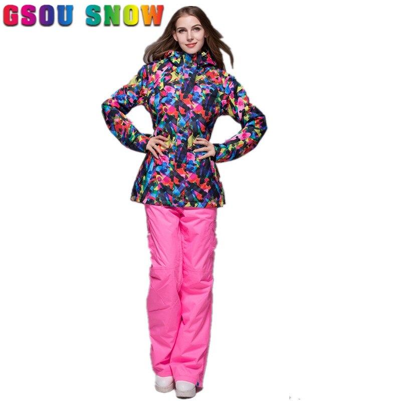 Prix pour Gsou Neige Femmes Ski vestes Pantalon-30 Degrés Dames Costumes De Snowboard Respirant Coupe-Vent Imperméable En Plein Air Coloré Ski Ensembles