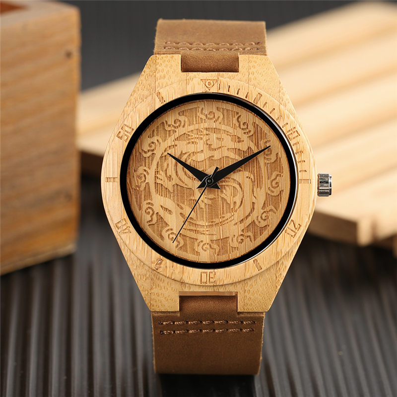 Creative Hands Craft Dragon Dial Wooden Watches Natural Bamboo Analog Genuine Leather Carving Wood Quartz Watch Men Reloj Hombre analog watch