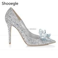 Fashion Pointed Toe Cinderella High Heels Sweet Dress Stilettos Lady Evening Party Women Pumps Bling Rhinestone Wedding Shoes