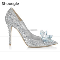 Fashion Pointed Toe Cinderella High Heels Sweet Dress Stilettos Lady Evening Party Women Pumps Bling Rhinestone Wedding Shoes