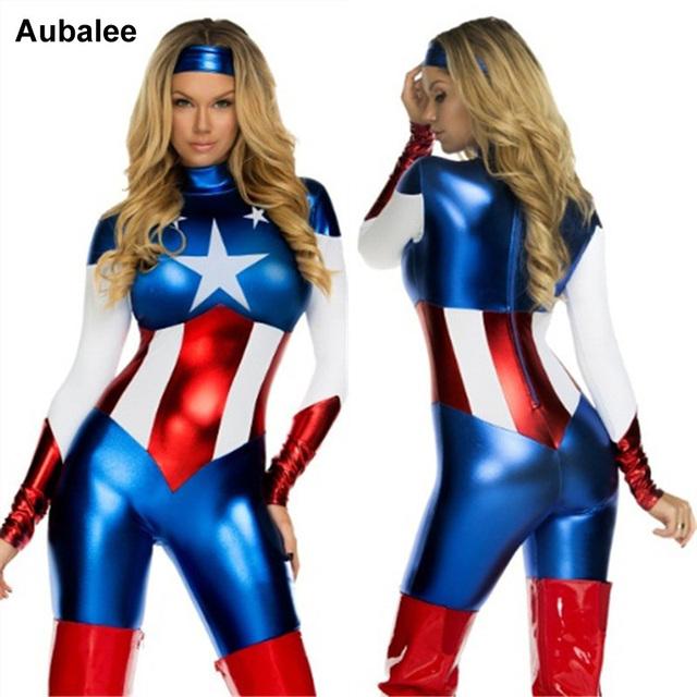 Captain America Costume Superhero Cosplay Women Skinny Zentai Suit Ladies Captain America Role Play Movie Costume