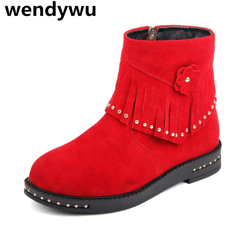 WENDYWU autumn winter stud ankle boots for baby girls tassel boots toddler brand black boots children genuine leather shoes wendywu 2017 new arrvials fashion leather children s boots for your baby