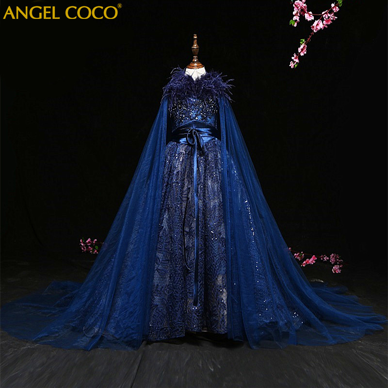 Luxury Princess Girl Evening Dress Shawl Robe De Soiree Beaded Beautiful Children Costum ...