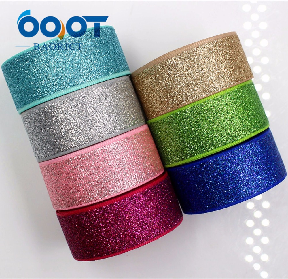 OOOT BAORJCT G-18522-255,22 Mm 10 Yards Glitter Ribbons Thermal Transfer Printed Grosgrain Wedding Accessories DIY Materials