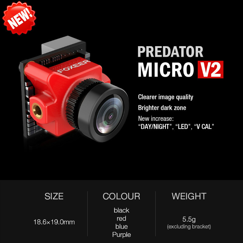 2018New Arrival Foxeer Predator Micro V2 Drone Camera FPV Camara 1000TVL 1.8mm OSD WDR 4:3 Screen Seven Languages Switchable P/N