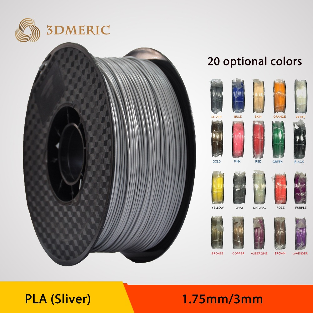 1.75mm Sliver PLA 3D Printer supplier plastic rubber consumable material -1kg Spool