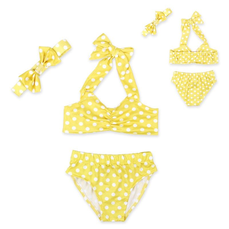 Yellow Baby Girl Swimsuit suitable For Dressing In The Summer Playing In the Beach with Polka Dot Print