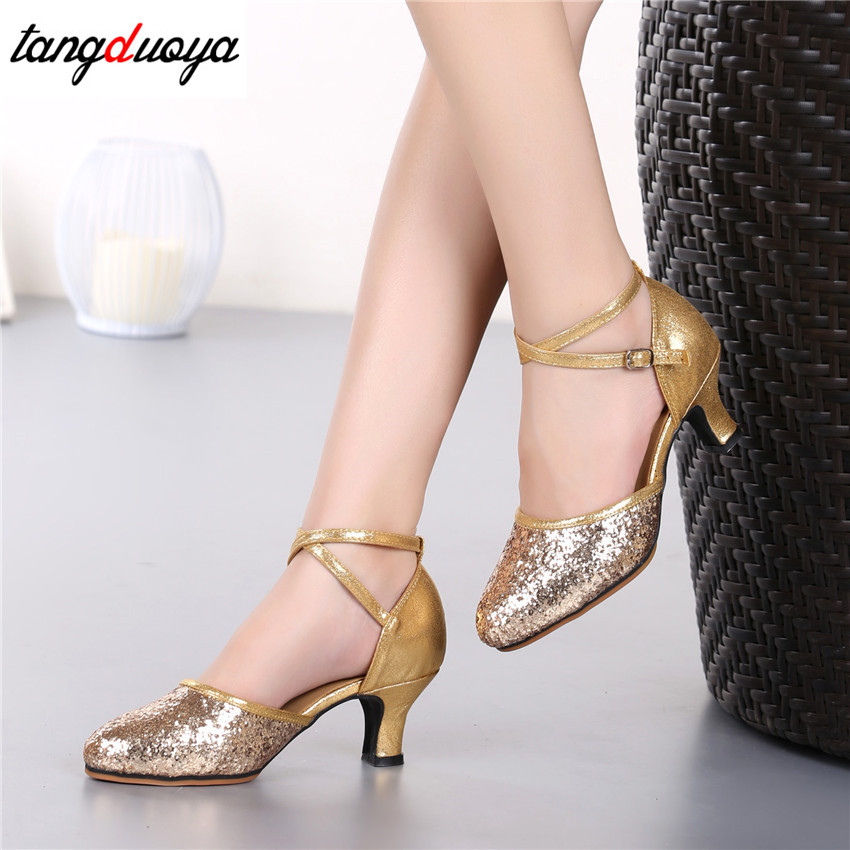 Gold High-heel Glitter Lady Latin Dance Shoes Women's Ballroom Tango Salsa Tap Latin Dancing ShoesLadies Latin Shoes 2019