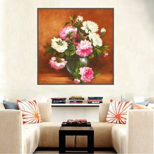 Pink and White Flowers Bonsai Oil Canvas Painting for Living Room Wall Art Print Picture Flowers Home Decoration Bedroom Vintage цена и фото