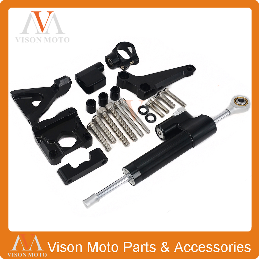цены  CNC Steering Damper Set Stabilizer With Bracket Mounting Assemblly For KAWASAKI Z250 Z300 Z 250 Z 300 2015 2016 15 16