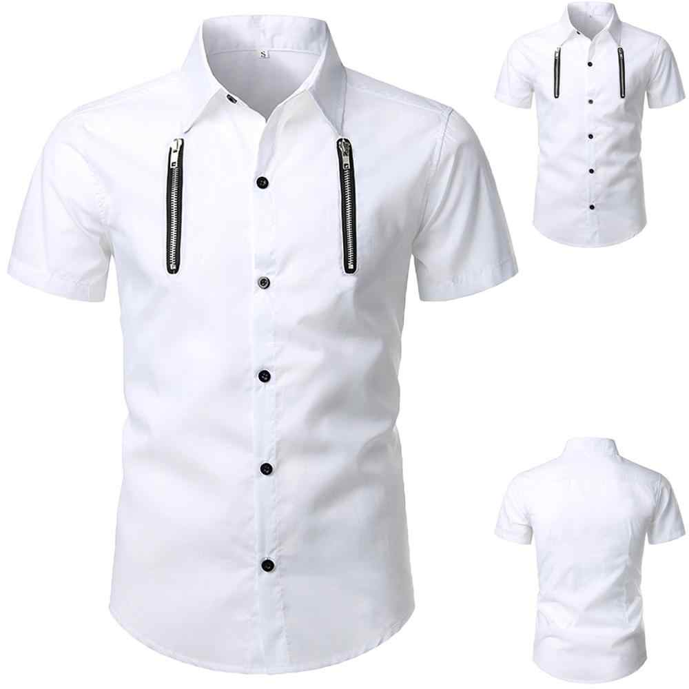 Fashion Mens Solid Button Personality Shirt Short Sleeve Blouse Tops gothic men SLIM fit clothes 2019 WHITE Cotton men