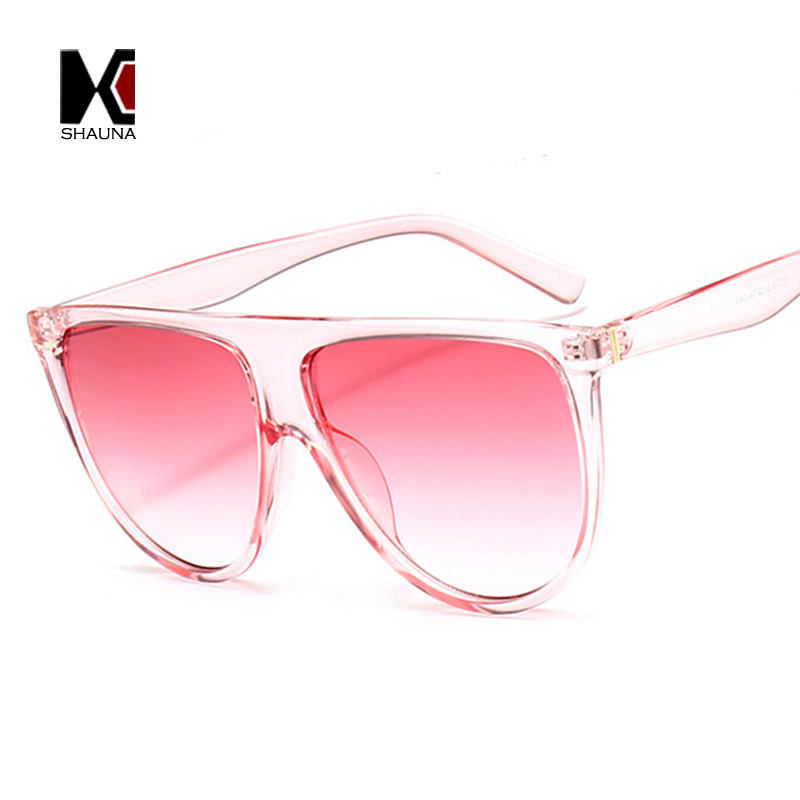 SHAUNA 10 Colors Oversize Flat Top Women Shield Sunglasses Candy Color Fashion Men Pink Gradient Tint Lens Cat Eye Glasses in Women 39 s Sunglasses from Apparel Accessories
