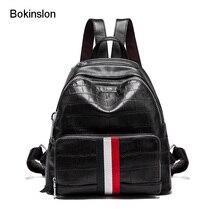 Bokinslon Сумки рюкзак Для женщин корова Разделение кожа Colloge ветер женский рюкзак сплошной Цвет Повседневное Дорожные сумки для женщин