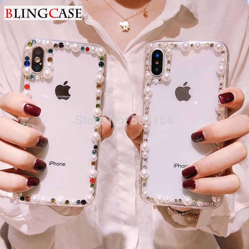 Para Samsung Galaxy J2 J3 J4 J5 J6 J7 J8 2016 2017 Pro 2018 Prime Plus Core M10 M20 Pérola rhinestone caso Diamante Tampa Transparente