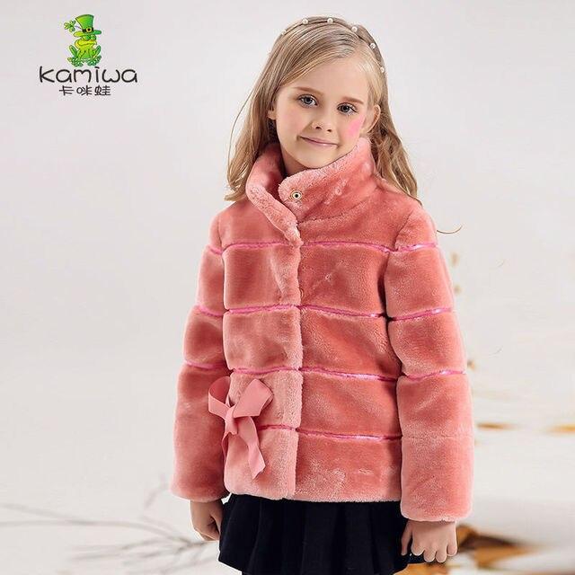 KAMIWA 2016 Девушки Зимние Пальто И Куртки Лук Шерсть, как Верхняя Одежда Детская Одежда однобортный Детская Одежда Теплый носить
