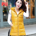 Hot Sale Women Winter Vest Waistcoat 2016 Womens Long Vest Jacket PU Sleeveless Hooded Down Cotton Warm Vest Female F16-55G