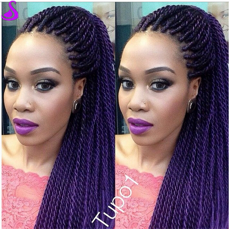 Purple Ombre Braided Lace Front Wig Two Tone Synthetic X