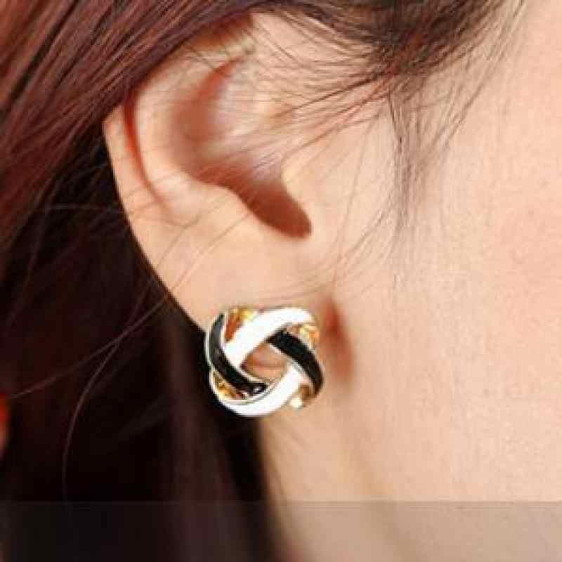 תכשיטים קוריאני זול אישה פראית רטרו בשחור לבן פשוט אופנה עגילי צמה חלולה עגילים לנשים עגילים