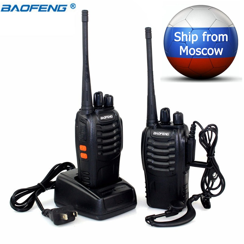 2 PCS Baofeng BF-888S Talkie Walkie 5 W Deux-way radio Portable CB Radio UHF 400-470 MHz 16CH Comunicador Émetteur Émetteur-Récepteur