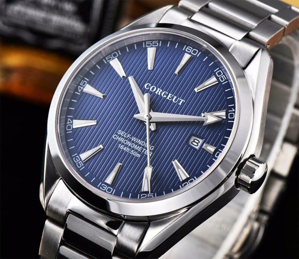 41 MM Corgeut szafirowy kryształ świecenia mechaniczny automatyczny zegarek męski niebieski dial ze stali nierdzewnej bransoletka zegarek w Zegarki mechaniczne od Zegarki na  Grupa 1