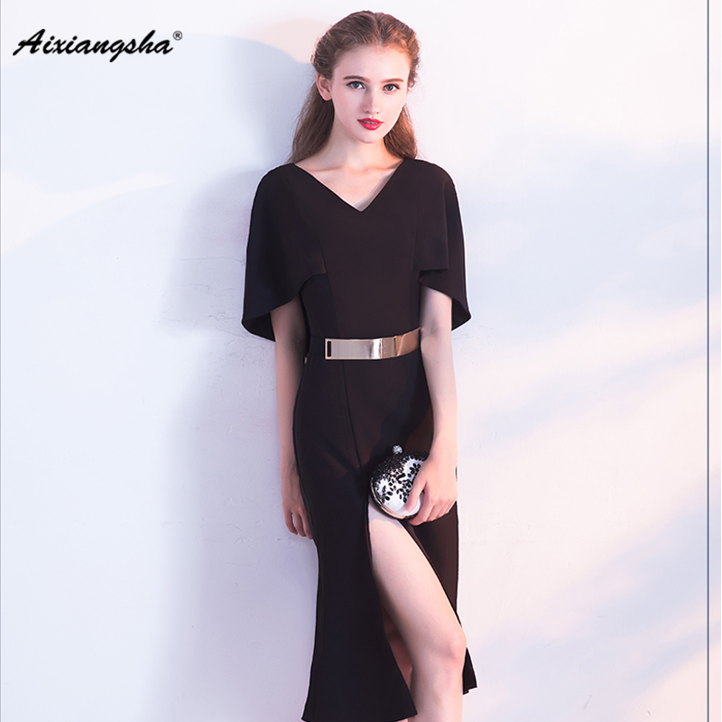 New arrival 2018 Tea-Length Short Sleeve Mermaid V-Neck Ruched Customized Party   Dresses     Prom     Dresses   With Belt and Slit