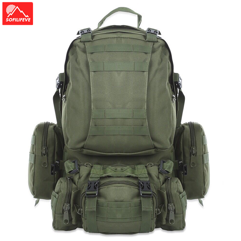 Sac à dos tacitique extérieur 50L sac à dos d'entraînement de sport militaire Molle sac de voyage grande capacité pour Camping randonnée