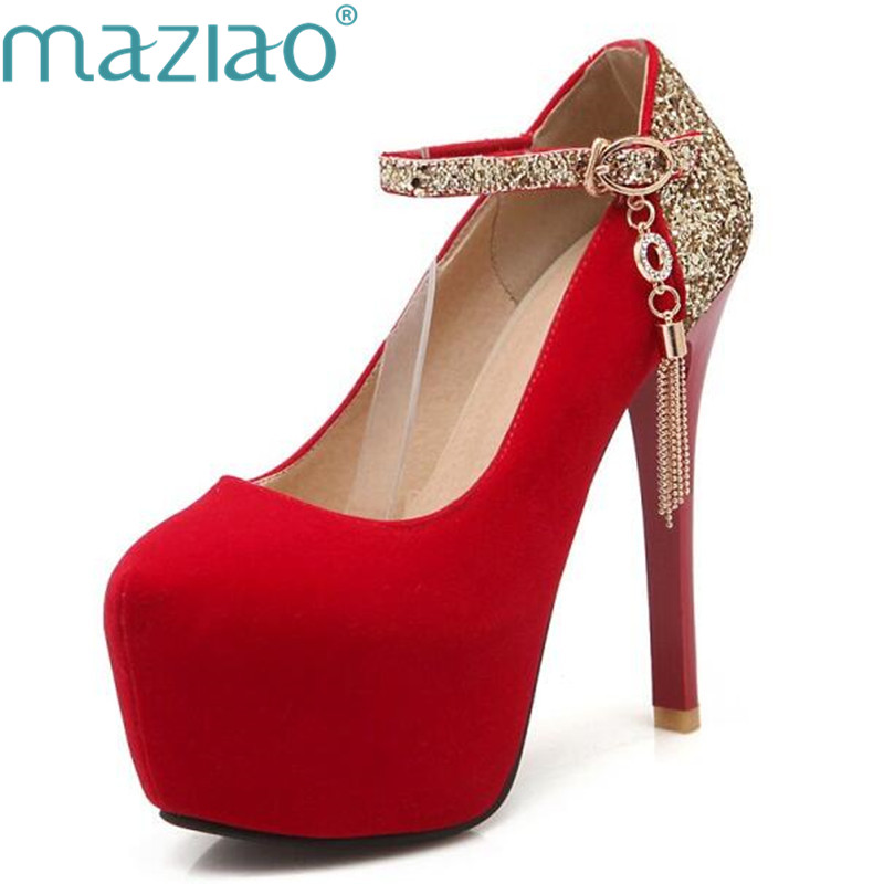 MAZIAO Big size 34-42 Women Pumps Shimmery Belt Mary Jane Party Wedding Shoes Woman Metallic Chains High Heels Platform Pum ...