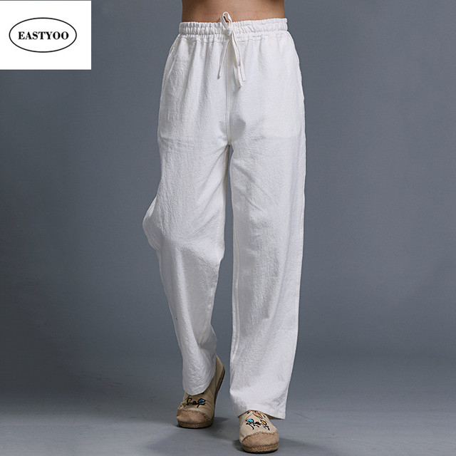 52ace000f7e White Linen Pants Men Summer Casual Pants Ethnic Loose Straight Pants Long  Trousers Plus Size Drawstring White Long Trousers
