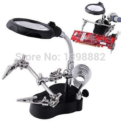 LED font b LIGHT b font Soldering Iron Stand Clamp Clip Helping Hand Magnifying Circuit Board