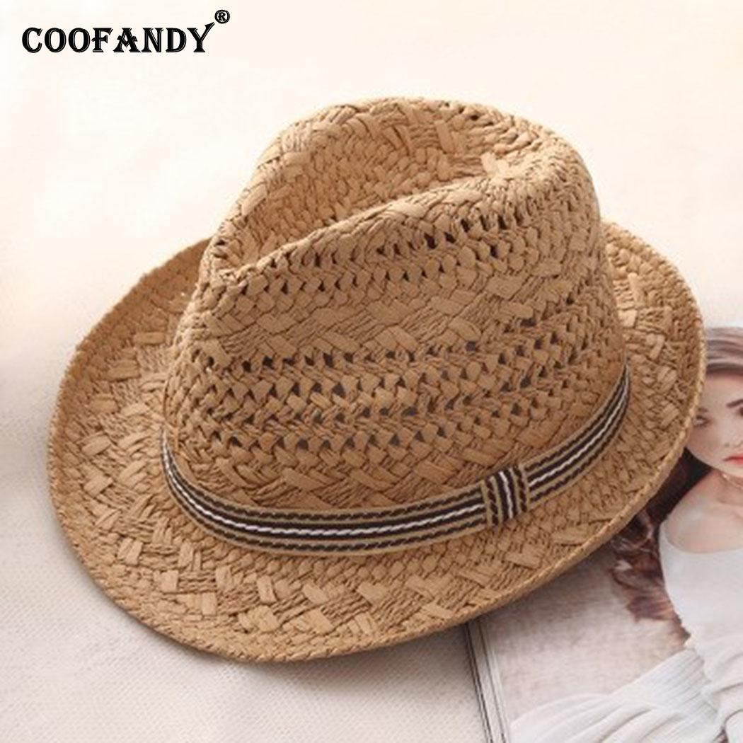 Women Fashion Vintage Style Hollow Out Straw Summer Hat 1PC Solid Summer/Spring out Casual Beach Sun Hat(China)