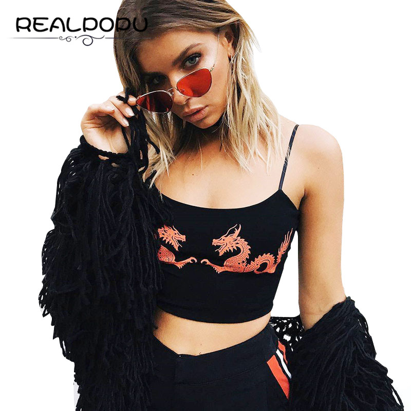 Waatfaak Summer Straps Sleeveless Camis Pattern Dragon Fitness Sexy Crop Tops Women 2017 Basic Casual Tight Clothing Feminino