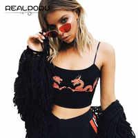 Waatfaak Summer Straps Sleeveless Camis Pattern Dragon Fitness Sexy Crop Tops Women 2017 Basic Casual Tight Clothing Feminino