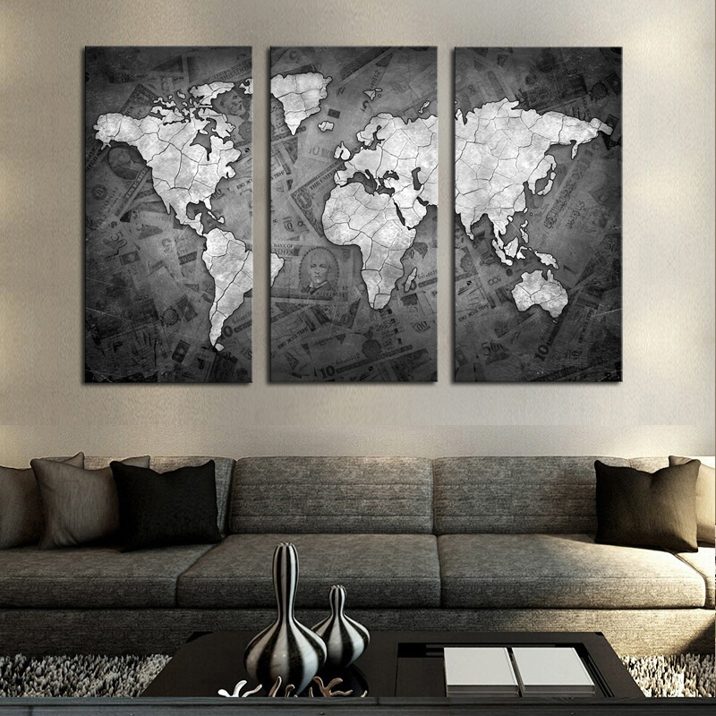 frameless 3 pcs wall art classical grey color modern world map canvas painting contemporary. Black Bedroom Furniture Sets. Home Design Ideas