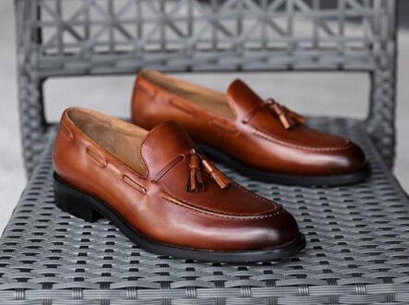 Quaste Schuhe Neue Echtes Leder Rauchen Kleid Handgemachte Wohnungen Britischen Schwarzes Krusdan Männer Hausschuhe coffee brown Hochzeit Business Müßiggänger qp5dx8t