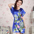 Women Sexy Emulation Silk Lingerie Sleepwear Nightgow Ladies Summer Casual Sleepshirt Short sleeve Print Flower Nightdress