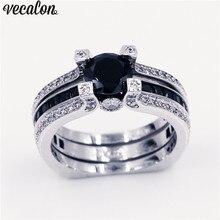 Vecalon 10 видов цветов пара Юбилей кольцо 5A Циркон CZ белого золота Заполненные Обручальное кольцо комплект для мужчин и женщин камень ювелирные изделия