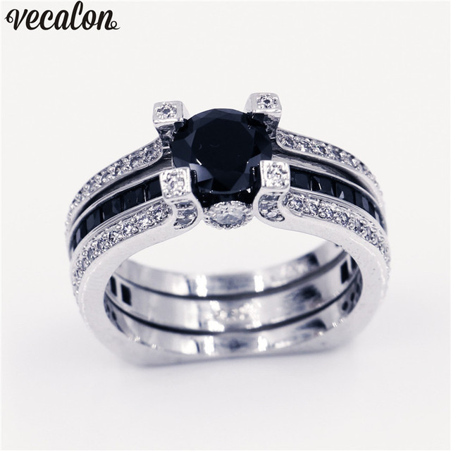 Vecalon 10 colors couple Anniversary ring 5A zircon Cz White Gold Filled wedding