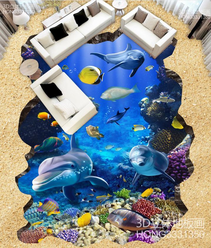 ФОТО 3d floor tiles for living room underwater world creative 3d dolphin floor pvc custom any size