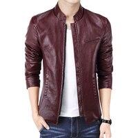 Loldeal New Brand Men's Jackets PU Leather Jacket Punk Red Leather Jackets Zipper Men Chupas De Cuero Hombre
