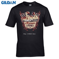 Gildan面白い男性コットンtシャツ2017ファッションブランドコットンtシャツ古い学校原子ガレージピンアップ米国車ホットロッドv8 tシャ