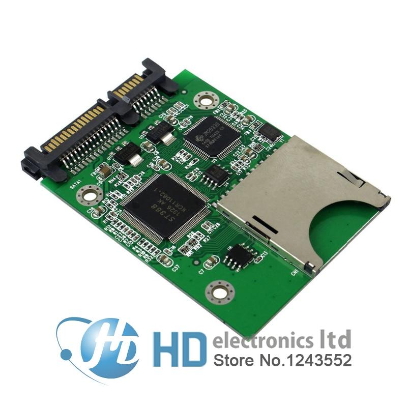 Free shipping SD SDHC Secure Digital MMC Memory Card to 7+15P SATA Serial ATA Converter Adapter new sd sdhc mmc card to sata 7 with 15pin hdd hard disk drive converter jn5