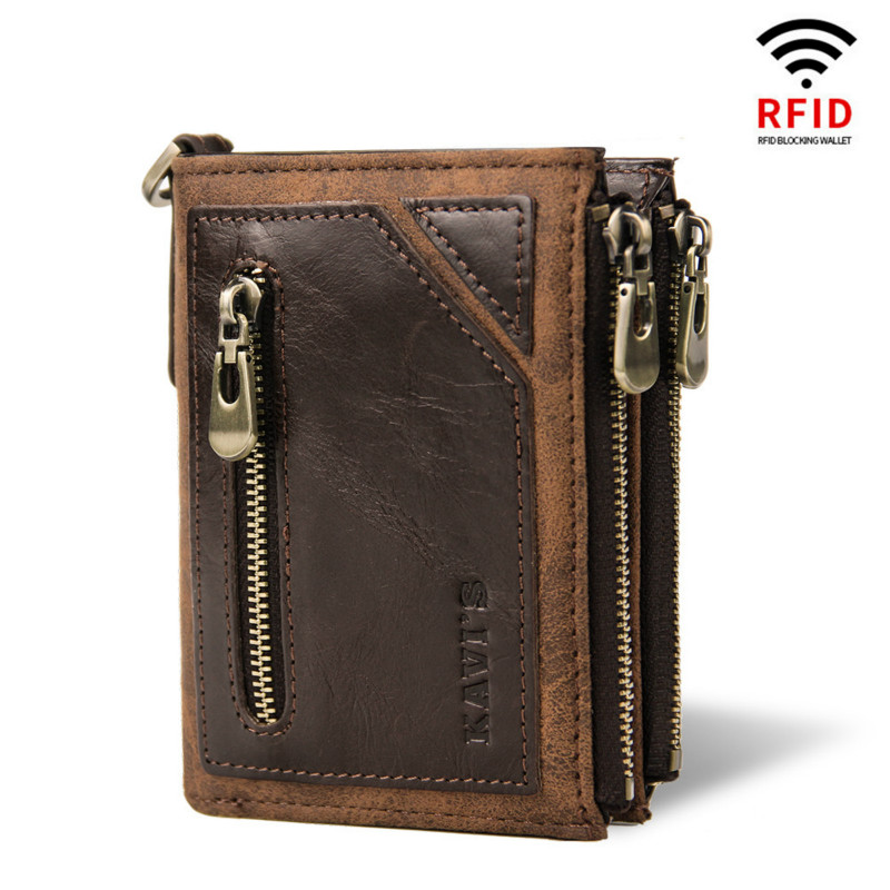 Mens RFID SAFE Real Leather Wallet Credit Card Zip Coin Pocket Purse 895 BROWN