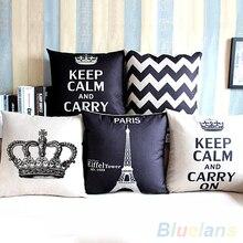 Retro Home Decorative Cotton Linen Blended Cover Crown Throw Pillow Case 4G5L
