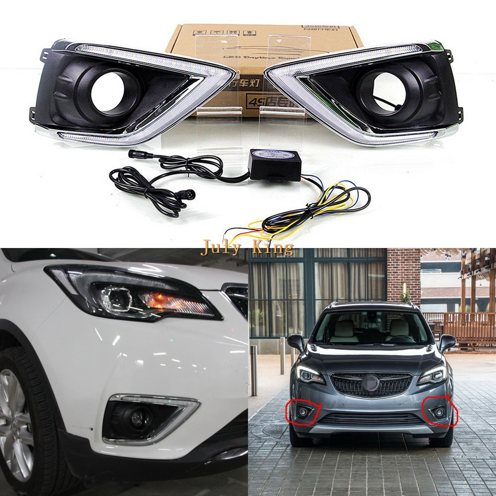 July King LED Daytime Running Lights Case for Buick Envision 2018 2019 LED Front Bumper DRL