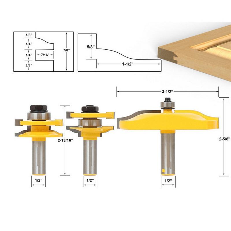 3Pcs 1/2'' Shank Rail & Stile Ogee Blade Cutter Panel Cabinet Router Bits Set Milling cutter Power Tools Door knife Wood TP-036 цена