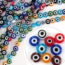 NiceBeads Flat Round Disk Shape Mixed Colors 6mm & 8mm Evil Eye Lampwork Glass Beads for Jewelry Making & DIY Craft