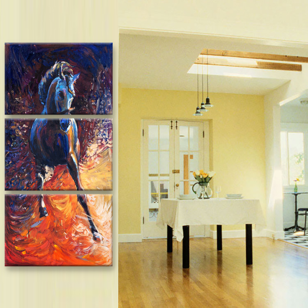 Frame 3 Panel Horse Modular Pictures Painting Canvas Art Paintings ...