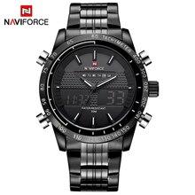 NAVIFORCE relojes de acero para hombre, cronógrafo Digital, analógico, LED, militar, Masculino